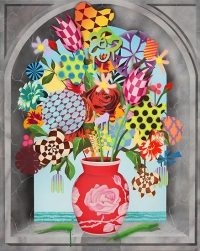 Bouquet in Arched Window